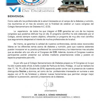 Bienvenida VI Congreso del Colegio Iberoamericano de Diabetes